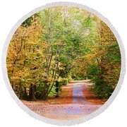 Round Beach Towel featuring the photograph Fall Pathway by Judy Vincent