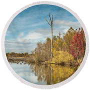 Round Beach Towel featuring the photograph Fall Pond by Debbie Green