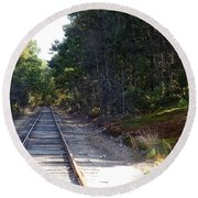 Fall Railroad Track To Somewhere Round Beach Towel