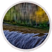 Fall Reflections At Tumwater Spillway Round Beach Towel