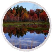 Fall Reflections Round Beach Towel by Kerri Mortenson