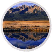 Round Beach Towel featuring the photograph Fall Reflections Sawtooth Mountains Idaho by Dave Welling