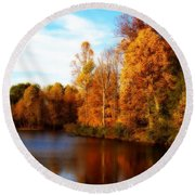 Round Beach Towel featuring the photograph Fall Scene At Hedden Pond With Orton Effect by Eleanor Abramson