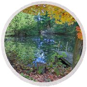 Round Beach Towel featuring the photograph Fall Scene By Pond by Brenda Brown