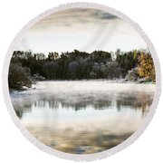 Fall Scene On The Mississippi Round Beach Towel by Cheryl Baxter