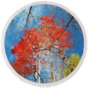 Fall Sky Round Beach Towel