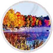 Round Beach Towel featuring the photograph Fall Splendor Of Mid-michigan by Daniel Thompson