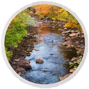 Fall Stream Round Beach Towel