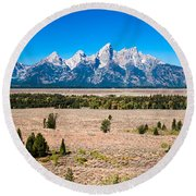 Fall Tetons   Round Beach Towel