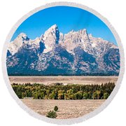 Fall Tetons Panorama   Round Beach Towel