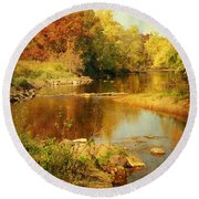 Fall Time At Rum River Round Beach Towel