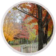 Fall Tranquility Round Beach Towel by Debbie Green