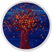 Round Beach Towel featuring the painting Fall Tree Fantasy By Jrr by First Star Art