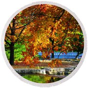 Fall Trees Landscape Stream Round Beach Towel