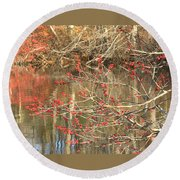 Round Beach Towel featuring the photograph Fall Upon The Water by Bruce Carpenter