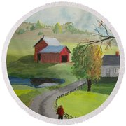 Round Beach Towel featuring the painting Fall Walk by Norm Starks