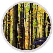 Fall Woods In Michigan Round Beach Towel