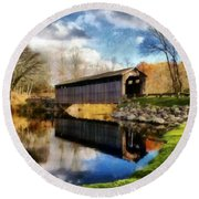 Fallasburg Bridge In Fall Round Beach Towel