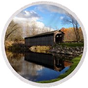 Fallasburg Bridge Round Beach Towel