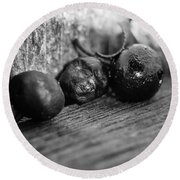 Fallen Berries Round Beach Towel