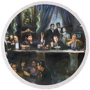 Fallen Last Supper Bad Guys Round Beach Towel