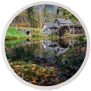 Fallen Leaves At Mabry Mill Round Beach Towel