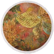 Round Beach Towel featuring the painting Fallen Leaves II by Ellen Levinson