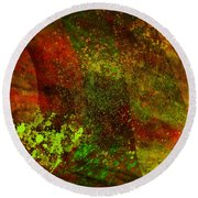 Round Beach Towel featuring the mixed media Fallen Seasons by Ally  White