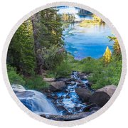 Falling Down To The Lakes Round Beach Towel