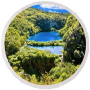Falling Lakes Of Plitvice National Park Round Beach Towel