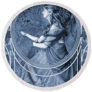Falling Leaves Cyanotype Round Beach Towel