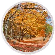 Falling Leaves On The Road To Bentley Round Beach Towel