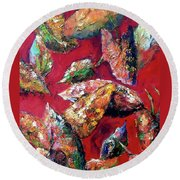 Falling Leaves Round Beach Towel