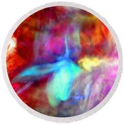 Falling Petal Abstract Red Magenta And Blue B Round Beach Towel