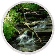 Round Beach Towel featuring the photograph Falling Water by Alan Lakin