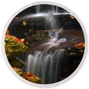 Falls And Fall Leaves Round Beach Towel