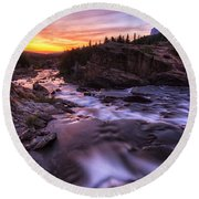 Falls At First Light Round Beach Towel