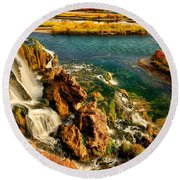 Falls Creek Waterfall Round Beach Towel by Greg Norrell