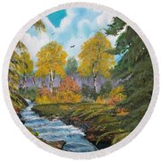 Round Beach Towel featuring the painting Rushing Waters  Falls  by Sharon Duguay