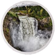 Falls In Love Round Beach Towel by James Heckt