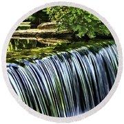 Round Beach Towel featuring the painting Falls by Muhie Kanawati