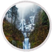 Falls Of Heaven Round Beach Towel by James Heckt