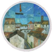 Falmouth Round Beach Towel by Steve Mitchell