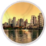 False Creek And Yaletown Panorama In Vancouver Canada Round Beach Towel