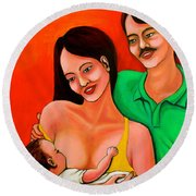 Family Round Beach Towel by Cyril Maza