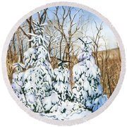Round Beach Towel featuring the painting Family Of Four Trailside At 7 Springs by Barbara Jewell