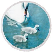 Family Of Swans At The Market Common Round Beach Towel by Vizual Studio