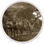 Family Out Carriage Ride On The 17 Mile Drive In Pebble Beach Circa 1895 Round Beach Towel by California Views Mr Pat Hathaway Archives