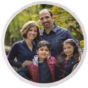 Family Portrait On Bridge - 1 Round Beach Towel