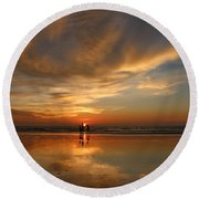 Family Reflections At Sunset - 2 Round Beach Towel